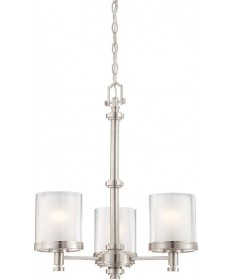 Nuvo Lighting 60/4647 Decker 3 Light Chandelier with Clear & Frosted Glass