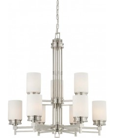 Nuvo Lighting 60/4709 Wright 9 Light Chandelier with Satin White Glass