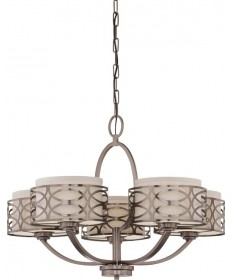 Nuvo Lighting 60/4725 Harlow 5 Light Chandelier with Khaki Fabric Shades