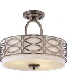 Nuvo Lighting 60/4729 Harlow 3 Light Semi Flush Fixture with Khaki Fabric Shade