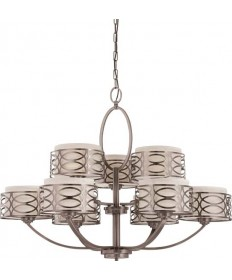 Nuvo Lighting 60/4730 Harlow 9 Light Chandelier with Khaki Fabric Shades