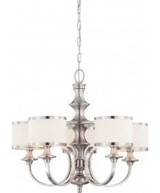 Nuvo Lighting 60/4735 Candice 5 Light Chandelier with Pleated White Shades