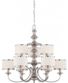 Nuvo Lighting 60/4739 Candice 9 Light Chandelier with Pleated White Shades