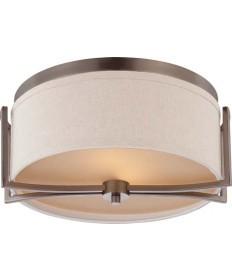 Nuvo Lighting 60/4861 Gemini 2 Light Flush Dome Fixture with Khaki Fabric Shade