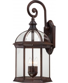"Nuvo Lighting 60/4968 Boxwood 3 Light 26"" Outdoor Wall with Clear"