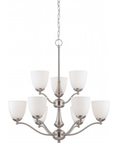 Nuvo Lighting 60/5039 Patton 9 Light 2 Tier Chandelier with Frosted
