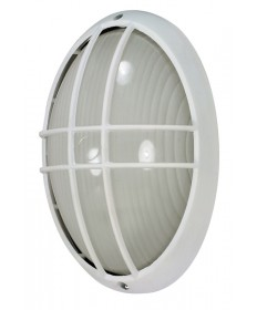 Nuvo 60/528 1 Light 13 inch Large Cage Oval BulkHead Light Semi Gloss White Finish