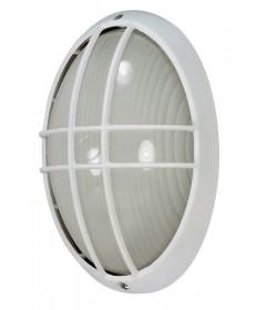 Nuvo 60/528 1 Light 13 inch Large Cage Oval BulkHead Light Semi Gloss White Finish