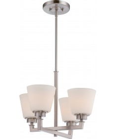 Nuvo Lighting 60/5458 Mobili 4 Light Chandelier with Satin White Glass
