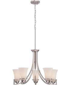 Nuvo Lighting 60/5485 Neval 5 Light Chandelier with Satin White Glass