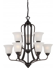 Nuvo Lighting 60/5699 Elizabeth 9 Light 2 Tier Chandelier with Frosted