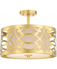 Nuvo Lighting 60/5967 Filigree 2 Light Semi Flush Mount Natural Brass