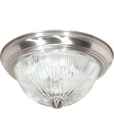 "Nuvo Lighting 60/6024 2 Light 13"" Flush Mount Clear Ribbed Glass"