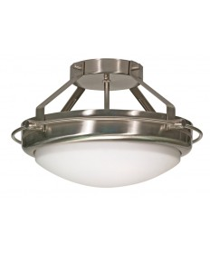 Nuvo Lighting 60/609 Polaris 2 Light 14 inch Semi-Flush with Satin Frosted Glass Shades