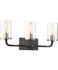 "Nuvo Lighting 60/6123 Sherwood 3 Light Vanity 24"" Iron Black with"