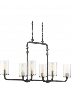 Nuvo Lighting 60/6124 6 Light Sherwood Island Pendant Iron Black with