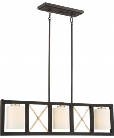 Nuvo Lighting 60/6133 3 Light Boxer Island Pendant Matte Black with