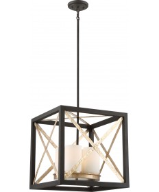 "Nuvo Lighting 60/6134 4 Light Boxer 17"" Pendant Matte Black with"