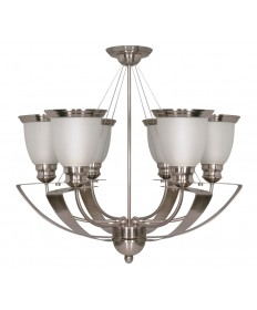 Nuvo Lighting 60/616 Palladium 6 Light 25 inch Chandelier with Satin Frosted Glass Shades