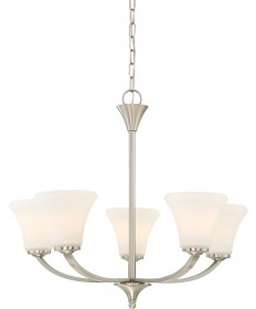 Nuvo Lighting 60/6205 Fawn 5 Light Chandelier Fixture Brushed Nickel