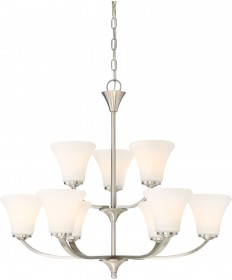 Nuvo Lighting 60/6209 Fawn 9 Light Chandelier Fixture Brushed Nickel