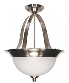 Nuvo Lighting 60/621 Palladium 3 Light 16 inch Pendant (Convertible) with Satin Frosted Glass Shades