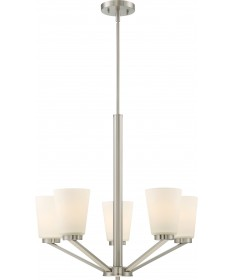 Nuvo Lighting 60/6246 Nome 5 Light Chandelier Fixture Brushed Nickel