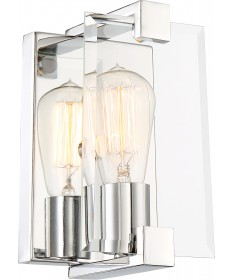 Nuvo Lighting 60/6291 Shelby 1 Light Sconce Fixture Polished Nickel