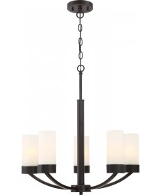 Nuvo Lighting 60/6325 Denver 5 Light Chandelier Fixture Mahogany