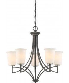 Nuvo 60/6375 Chester 5 Light Chandelier Fixture Iron Black