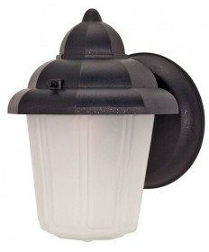 Nuvo Lighting 60/641 1 Light 9 inch Wall Lantern Hood Lantern with Satin Frosted Glass