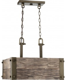 Nuvo 60/6422 Nuvo Winchester 4 Light Square Pendant With Aged Wood