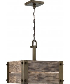 Nuvo 60/6423 | Nuvo Winchester 4 Light Square Pendant With Aged Wood