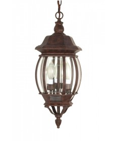 Nuvo Lighting 60/895 Central Park 3 Light 20 inch Hanging Lantern with Clear Beveled Glass