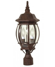 Nuvo Lighting 60/898 Central Park 3 Light 21 inch Post Lantern with Clear Beveled Glass