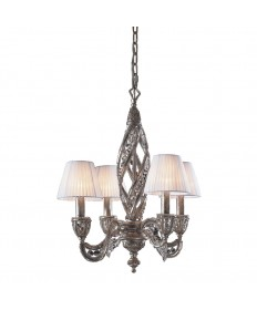 ELK Lighting 6235/4 Renaissance 4 Light Chandelier in Sunset Silver and Crystal Accents