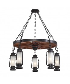 ELK Lighting 65007-5 stagecaoch 5 Light Chandelier in Matte Black