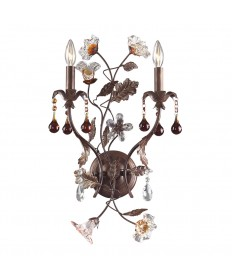 ELK Lighting 7043/2 Cristallo Fiore 2 Light Wall Bracket in Deep Rust and Hand Blown Florets