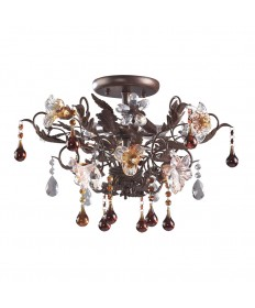 ELK Lighting 7044/3 Cristallo Fiore 3 Light Semi Flush in Deep Rust and Hand Blown Florets