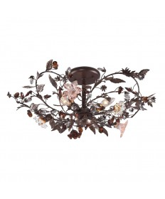 ELK Lighting 7046/3 Cristallo Fiore 3 Light Semi Flush in Deep Rust and Hand Blown Florets
