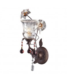 ELK Lighting 7050/1 Cristallo Fiore 1 Light Wall Bracket in Deep Rust and Hand Blown Florets