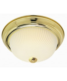 Nuvo Lighting 76/097 3 Light 15 inch Flush Mount Frosted Ribbed Swirl Glass