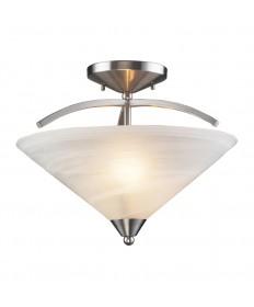 ELK Lighting 7633/2 Elysburg 2 Light Semi Flush in Satin Nickel and Marblized White Glass