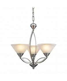 ELK Lighting 7635/3 Elysburg 3 Light Chandelier in Satin Nickel and Marblized White Glass
