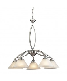 ELK Lighting 7636/5 Elysburg 5 Light Chandelier in Satin Nickel and Marblized White Glass
