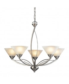ELK Lighting 7637/5 Elysburg 5 Light Chandelier in Satin Nickel and Marblized White Glass