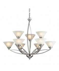 ELK Lighting 7638/6+3 Elysburg 9 Light Chandelier in Satin Nickel and Marblized White Glass