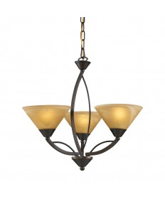 ELK Lighting 7645/3 Elysburg 3 Light Chandelier in Aged Bronze and Tea Swirl Glass