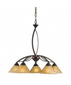 ELK Lighting 7646/5 Elysburg 5 Light Chandelier in Aged Bronze and Tea Swirl Glass