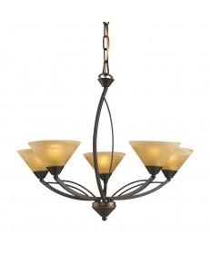 ELK Lighting 7647/5 Elysburg 5 Light Chandelier in Aged Bronze and Tea Swirl Glass